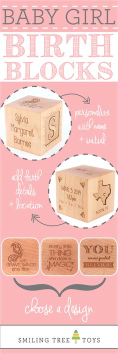 Keepsake Girl Birth Block | Personalized, natural, heirloom gift celebrating baby girl's birth from Smiling Tree Toys