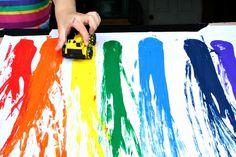 Racing Rainbow Painting with Cars