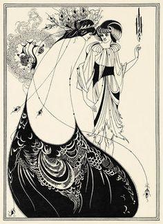 "art nouveau illustrator Aubrey Beardsley 1893 drawing ""The Peacock Skirt. Claude Monet, Vincent Van Gogh, Motifs Art Nouveau, Illustration Art Nouveau, Vintage Illustration Art, Japanese Woodcut, Aubrey Beardsley, Tate Britain, Vintage Poster"
