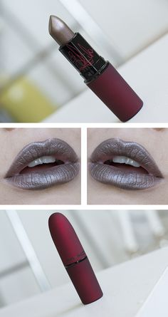 New Viva Glam Rihanna 2 lipstick from MAC is warm mauve with silver frost.