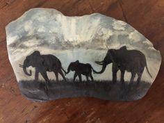 Elephants Painted Rock by SonnenblumeCreations on Etsy
