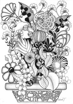 zentangle flower bouquet