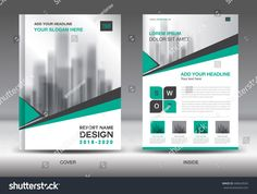 Annual report brochure flyer template, Green cover design, business advertisement, magazine ads, catalog, book, infographics element vector layout in A4 size