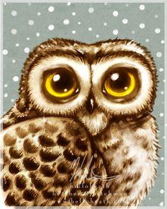 Edit    Winter Owl Big Eyes :: Art is copyright © Heather Hitchman