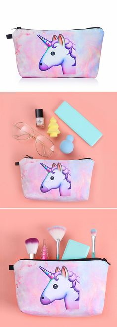 Unicorn Makeup Bags RONKY Women Cosmetic Bags 3D Print Travel Pouch from bornprettystore.com.  #bornpretty #cosmeticbag