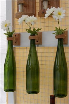 Hanging Repurposed Wine Bottle Flower Vase Set, Elegant Decor, Home Decor, Wine Lovers Gift, Wine Bar Decor, Housewarming Gift, Grape Gift
