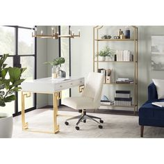 Get inspired by Glam Office Design photo by Room Ideas. Wayfair lets you find the designer products in the photo and get ideas from thousands of other Glam Office Design photos. Home Office Space, Office Workspace, Home Office Design, Home Office Furniture, Home Office Decor, Home Design, Home Decor, Office Designs, Design Ideas