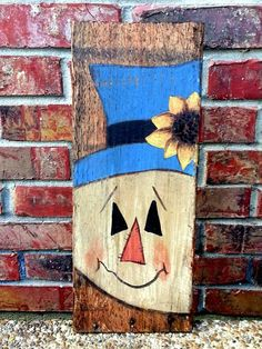 Buy Terrific Hand Painted Crafts Wall Hanging with Scarecrow in 2014 Thanksgiving from Mobiles Wood Scarecrow, Scarecrow Crafts, Fall Scarecrows, Pallet Crafts, Pallet Art, Wood Crafts, Autumn Painting, Fall Paintings, Adornos Halloween