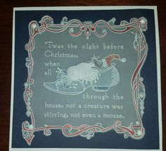 The Night Before Christmas, All Things Christmas, Christmas Cards, Xmas, Barbara Gray, Embossing Tool, Baby Plates, Parchment Cards, Twas The Night