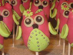 Pink & Green Owl Cake Pops
