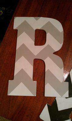 Handpainted Distressed Chevron Letter R  via Etsy.