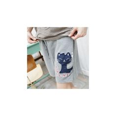 Drawstring-Waist Cat-Print Sweat Shorts ($33) ❤ liked on Polyvore featuring shorts, women, drawstring waist shorts and cat shorts
