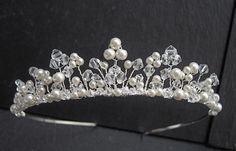 Tiara - Wedding / Silver Bridal Tiaras Ivory Pearls and Swarovski Crystals