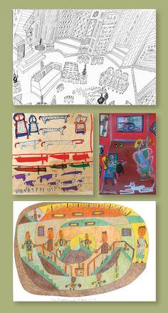 """Aussenseiterkunst, Art Brut und Raum: Der Amerikaner Knox Wilkinson schildert in seiner an Steinberg erinnernden Strichzeichnung atemberaubend virtuos ein Zimmer.   Sein auf einer Farm lebender Landsmann mit mentaler Behinderung, Carter Wellborn, 1927-2013, zeichnete in seinen Zeichnungen Menschen und Tiere, als wollte er Inventarlisten erstellen.   Stéphane Vivier aus Frankreich blickt von oben in ein Zimmer.  Und Michael Hall, einer der Künstler der """"Kraichgauer Kunstwerkstatt"""" in…"""
