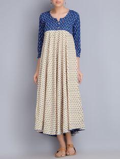 Buy Indigo Cream Block Printed Ikat Cotton Dress Apparel Dresses Online at Jaypore.com