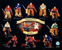 1943 67 Original Six Hockey Goalies Multi Signed Oversized Photograph Hockey Goalie, Hockey Games, Hockey Players, Ice Hockey, Montreal Canadiens, Original Six, Hockey Room, Hockey Quotes, Goalie Mask