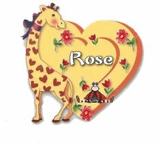 Prénom ROSE (3) dans un coeur avec girafe