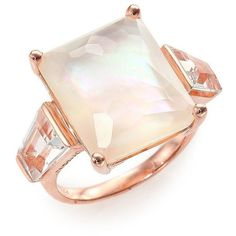 IPPOLITA Rose Rock Candy Mother-Of-Pearl & Clear Quartz Doublet Ring (8 950 ZAR) ❤ liked on Polyvore featuring jewelry, rings, accessories, apparel & accessories, rose gold, baguette ring, quartz jewelry, 18 karat gold ring, clear quartz jewelry and rock jewelry