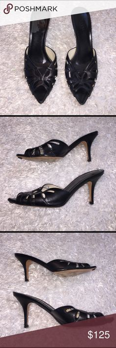 """Gucci Open Toe Heels Color is black! Item in great condition! Size is a 7. The perfect simple shoe. Heel: 3"""". Feel free to ask any questions! Gucci Shoes Heels"""