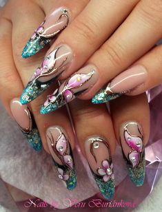 #vbVb Wow Nails, Sexy Nails, Fancy Nails, Bling Nails, Cute Nails, Pretty Nails, Beautiful Nail Designs, Beautiful Nail Art, Fabulous Nails