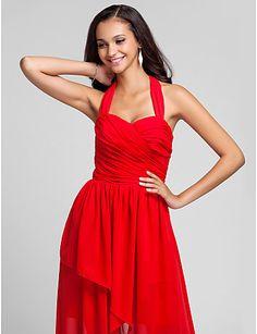 A-line Halter Asymmetrical Chiffon Bridesmaid Dress