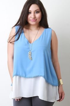 V Neck Sleeveless Two Tone Top