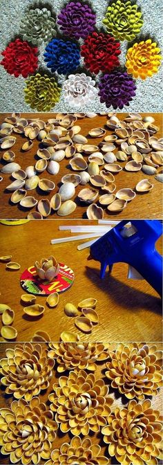 Eventually - a cool idea to re-use all those lovely pistachio shells instead of throwing them away! pistachio shell flowers, paint any color, embellish gift boxes, wreaths, attach to canvases for artwork or to a cuff to make statement jewelry Cute Crafts, Creative Crafts, Crafts To Make, Crafts For Kids, Arts And Crafts, Diy Crafts, Shell Flowers, Diy Flowers, Flower Diy