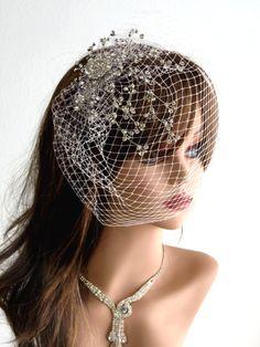 Crystal Wedding Hair Comb With Bridal Birdcage Veil - Fascinator - Wedding Accessory-Bridal Accessory