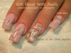 Romantic Nail Art - Soft White Flowers with Pearls