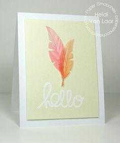 Paper Smooches: Bold Buzzwords, Feathers Dies | card by Heidi Van Laar