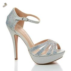 Vice136 Silver Peep Toe Rhinestone Studded D'Orsay Pumps-7 - Sullys pumps for women (*Amazon Partner-Link)