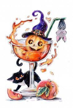 Halloween Artwork, Halloween Painting, Halloween Drawings, Halloween Clipart, Halloween Pictures, Cool Art Drawings, Colorful Drawings, Art Sketches, Halloween Ideas
