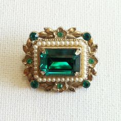 Emerald Green Coro Brooch  Emerald and Pearl by BrassPaperclip, $20.00