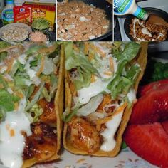 Chicken ranch tacos are delicious! Here is the easiest chicken ranch taco recipe ever! Popular Recipes, New Recipes, Copycat Recipes, Dinner Recipes, Vegan Cabbage Rolls, Chicken Ranch Tacos, Honey Chipotle Chicken, Pizza, Best Comfort Food