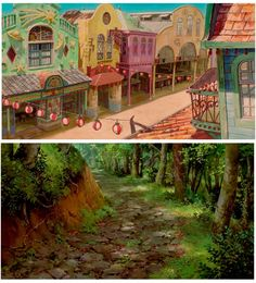 Cenários de A Viagem de Chihiro, do estúdio Ghibli Studio Ghibli Background, Background Drawing, Animation Background, Art Studio Ghibli, Studio Ghibli Movies, Environment Concept, Environment Design, Hayao Miyazaki, Totoro