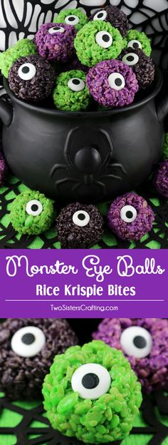 Monster Eye Balls Rice Krispie Bites - these yummy, bite-sized balls of crunchy, marshmallow-y delight have a creepy monster eye and fun Halloween colors! This is a Halloween dessert that is easy to make and even better to eat. These colorful and festive Rice Krispie Treats are great for Halloween potluck, a family dinner or a fun Halloween dessert. Pin this Spooky Halloween Treat for later and follow us for more fun Halloween Food Ideas.