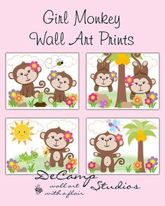 Cute Jungle Monkey Wall Art Prints OR Wall Decals for baby girl safari nursery or children's animal room decor. Adorable baby girl monkeys playing and hanging around #decampstudios