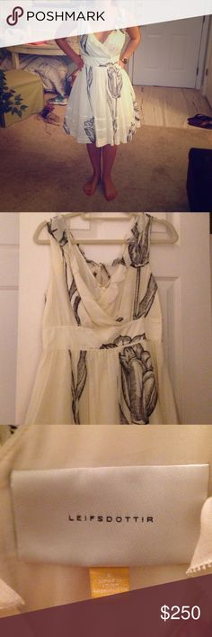 Leifsdottir size 6 cream and black sundress Beautiful v-neck sundress with ruffle detail down the front.  Only worn once, only selling as it is slightly too big in the waist. Leifsdottir Dresses Midi