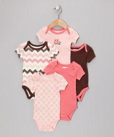 Look what I found on #zulily! Pink Owl Bodysuit Set - Infant by Vitamins Baby #zulilyfinds