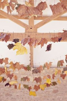 Lovely leaf bunting could be hung from railings leading to barn door.