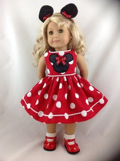 American Girl Doll Dress Mickey Mouse Minnie Mouse Polka Dot Disneyland Disney World 18 in with Ears and FREE Hanger Can also make for Bitty Baby, just let me know which you would like. This is for red dress with white polka dots Take Dolly with you on vacation or if she has to
