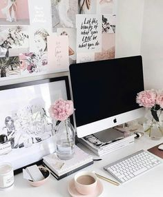 Looking for those feminine home office ideas? Allow me to share posh along with … - Home Office Decoration Home Office Space, Home Office Design, Home Office Decor, Desk Space, Workspace Desk, Office Designs, Imac Desk, Work Desk Decor, Apartment Office