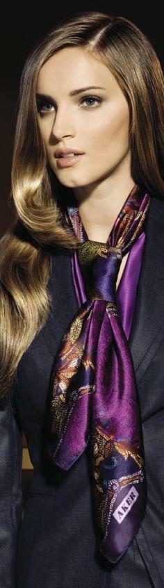 Aker Eşarp / Scarf - Purple Silk