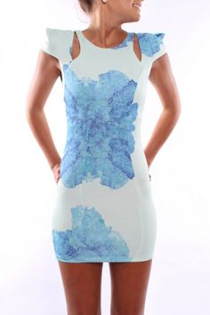 floral dress with shoulder cutouts.