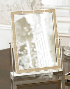 Gifts for Her | Devereaux Swivel Mirror from Ralph Lauren Home, in cream shagreen, a textured leather favored by 18th-century French royalty