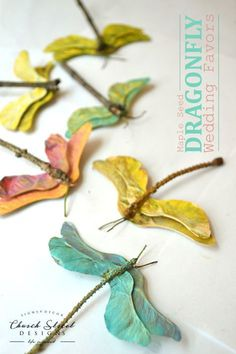 Maple Seed Dragonflies - Easy Kids Crafts You will actually use - DIY Wedding Favors - Make Your Own Party Favors - Summer Crafts - Butterfly crafts - Garden Party Decorations - Baby Shower Decorations - Easy Crafts - Church Street Designs #diypartycrafts
