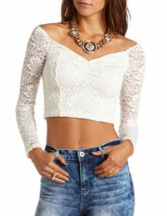 Lace Long Sleeve Crop Top: Charlotte Russe
