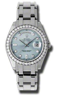 Rolex Day-Date Masterpiece Ice Blue Automatic Platinum Pearl Master Ladies Watch 18946IBLDPM