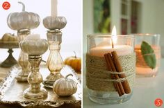 spray painted gourd candle holders // jute-wrapped candle holders #DIY