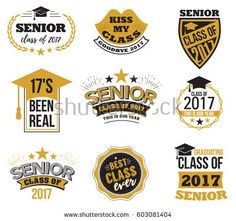 The set of black and gold colored senior text signs with the Graduation Cap, ribbon vector illustration. Class of 2018 grunge badges on white background